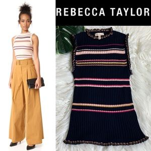 REBECCA TAYLOR striped ruffle navy blue tank